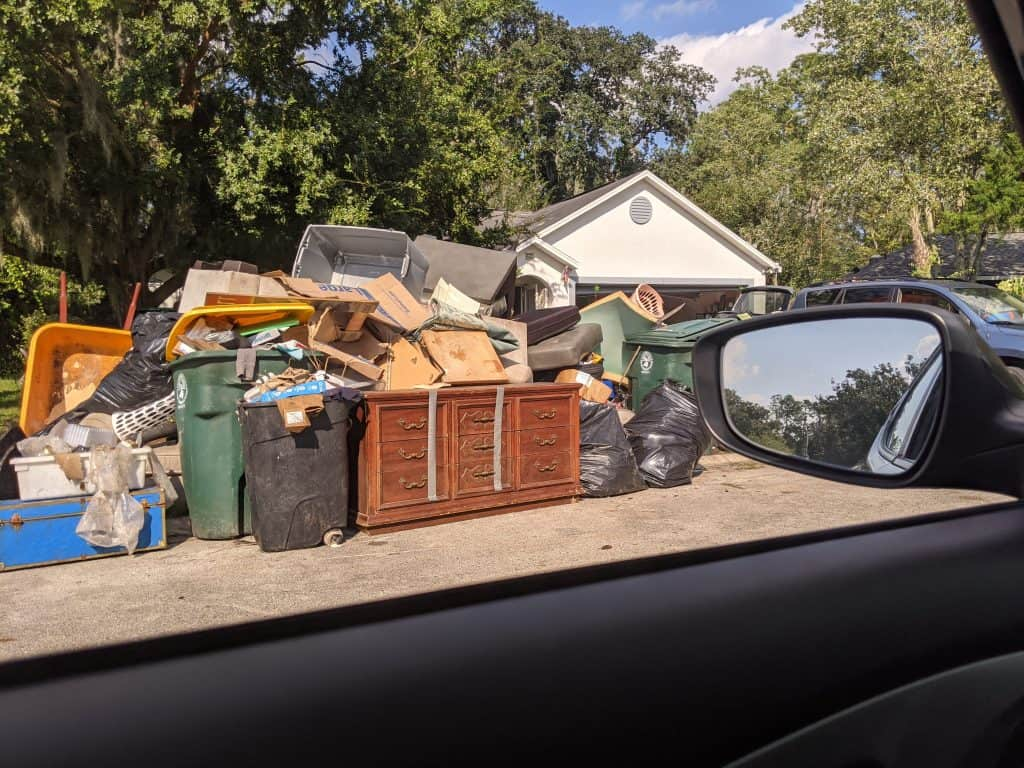 house with trash